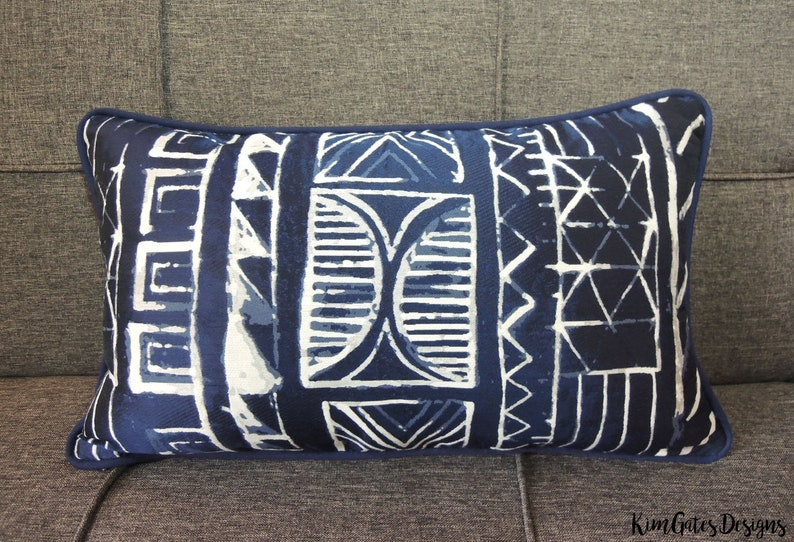 One 12x20 Navy and White Primitive Pattern Pillow cover // image 0