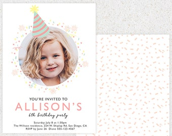 INSTANT DOWNLOAD Birthday Invitation Photoshop Card Template B104