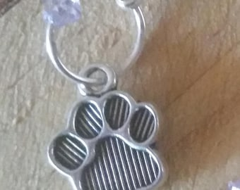 Stitch marker Set Silver Paw and choice of bead colour.