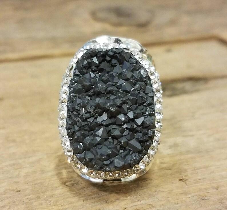 Silver Smoke Micro Pave Druzy Ring