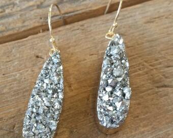 Pyrite Druzy Earrings