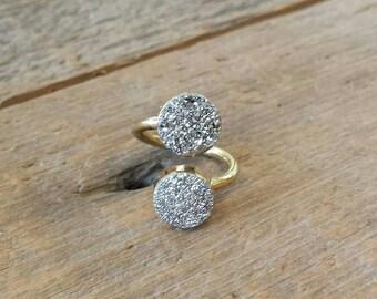 Pyrite Druzy Wrap Ring