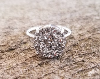 Silver Solitaire Druzy Ring