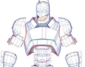EVA Foam Batman Wearable Mech Armor Suit PDF PDO Templates For Pepakura