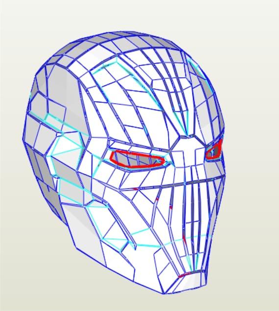 Paper PDF PDO Blueprints Of Iron Man Mark 45 Cosplay Helmet
