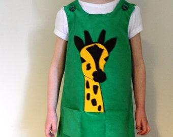 Gorgeous Green Giraffe Girls Dress Various Sizes Jungle Animal