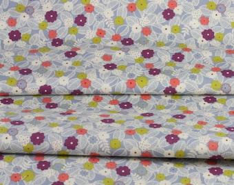 Coupon 50 x 108 cm fabric Japanese flowers on branch skip little green blue flower field