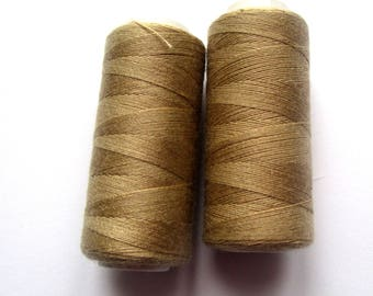 Set of 2 spools of thread 180 m for sewing - beige