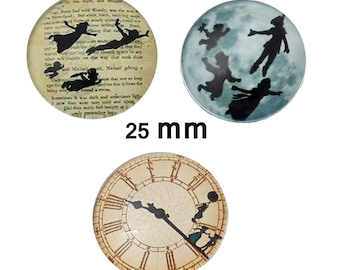 "Set of 3 ""Peter Pan"" 25 mm glass cabochons"