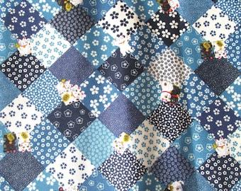 Coupon 50 x 55 cm fabric Japanese patchwork manekineko blue
