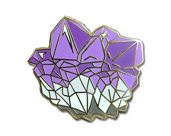 Amethyst Cluster Enamel Pin - Crystal - Lapel Pin - Flair - Hard Enamel - Gift