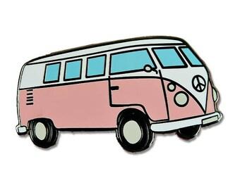 Hippie Van Enamel Pin - Hard Enamel - Flair - 60's - Lapel Pins - Gift