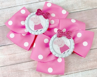 Light Pink Peppa Pig Inspired Bow