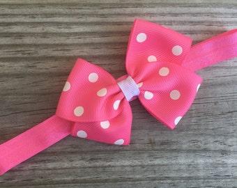 Pink Headband / Pink Polka Dot Bow /Baby Headband / Toddler Headband