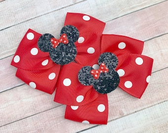 Minnie Mouse Bows / Minnie Mouse Pig Tails Bows / Disney World Bows