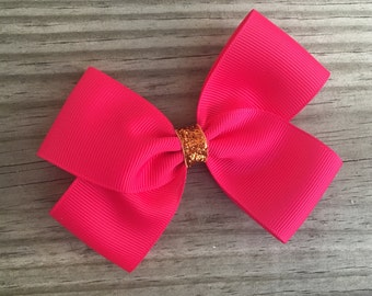 Hot Pink and Orange Bow