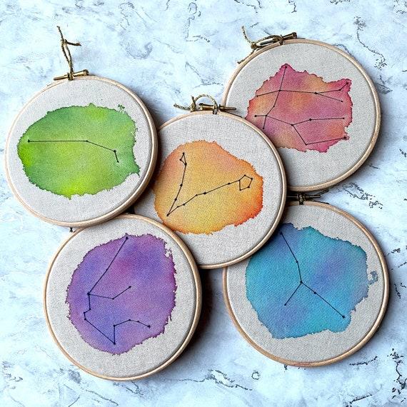 Custom Constellation Watercolour Embroidery Hoop