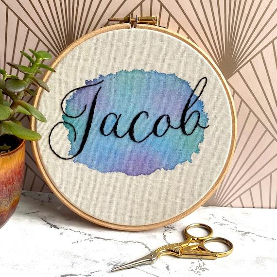 Custom Name Watercolour Embroidery Hoop