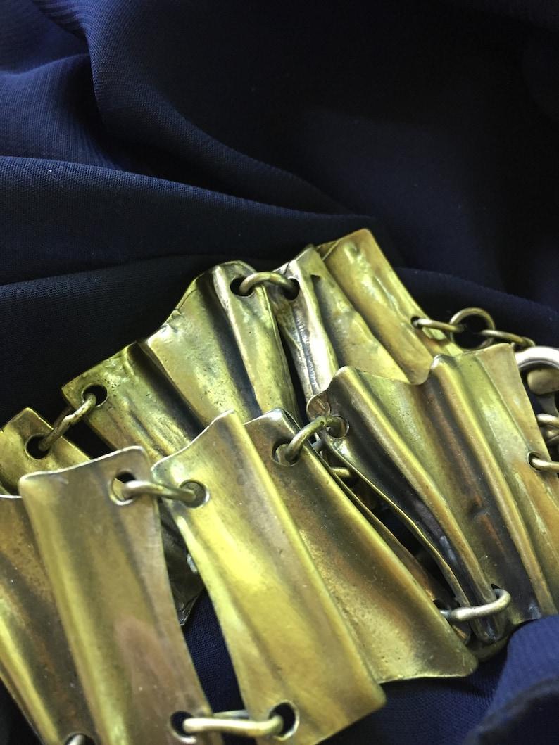 .vintage  but  never worn BRACELET   ...ABSTRACT crinkled metal in antique brass finish. artsy VINTAGE