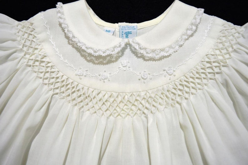HAND~EMBROIDERED NB//3M SMOCKED 2PC DRESSY YELLOW BABY DRESS W//FRENCH LACE~NWT/'S