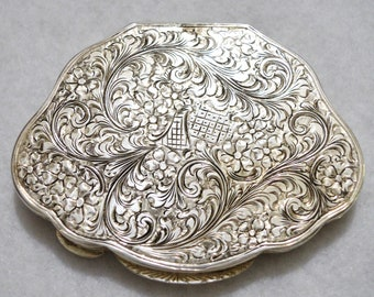 Antique Max Factor 1920's sterling silver engraved powder compact with mirror