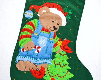"""Bear N' Birdie hand crafted Dimensions 21"""" felt appliqué Christmas Stocking~ready to hang"""