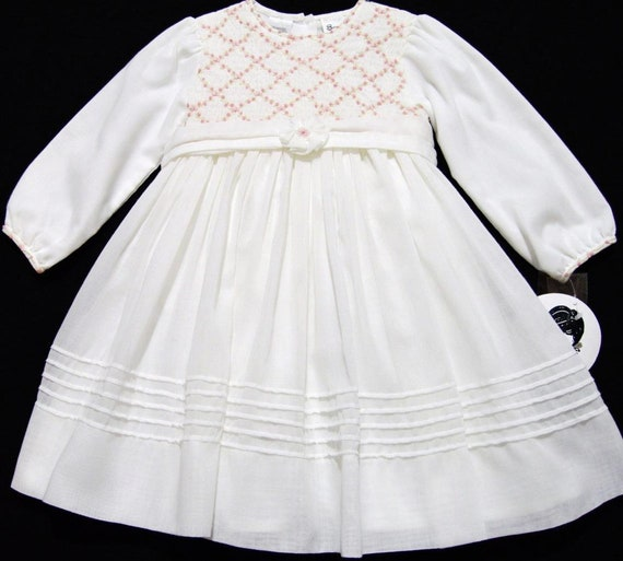 99a904bbb308 Vintage NEW Sarah Louise 12M smocked ivory voile dress with