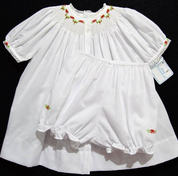 78fb963c5 Hand embroidered 9 month bishop smocked Christmas baby dress