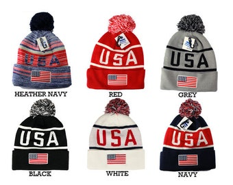 447db48c3ea USA American Flag Embroidered POM POM Knit Long Winter Beanie Hat- 6 Colors