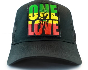 Rasta ONE LOVE   Fist Symbol Embroidered Iron On Patch Snapback Baseball  Cap- 2 Styles   8 Colors 1c48a726591d