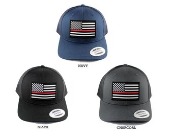 04a153be8bee8 Flexfit Thin Red Line Fire EMS U.S. Flag Patched Snapback Mesh Cap