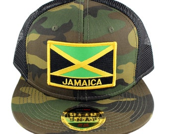 5317361f23e JAMAICA Flag   Text Embroidered Iron On Patch Snapback Camo Mesh Cap