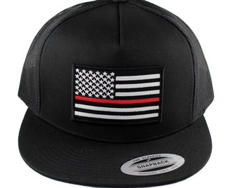 c7356b30f05 Flexfit 5 Panel American Flag Embroidered Patch Snapback Mesh Cap - Thin  Red Line