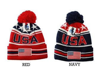 df7c10b0ff3 USA American Flag Embroidered with Stars Pom Pom Cuff Beanie Hat-2 Colors