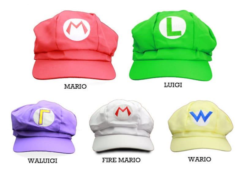 0a9b73811 Mario, Luigi, Wario, Waluigi & Fire Mario Embroidered Halloween or Nintendo  Cosplay Newsboy Hat- 5 Colors