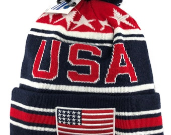 USA American Flag Embroidered Pom Pom Cuff Beanie Hat