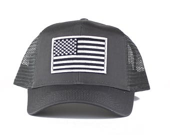 Subdued Grey American Flag Embroidered Iron On Patch Trucker Cap - 3 Colors