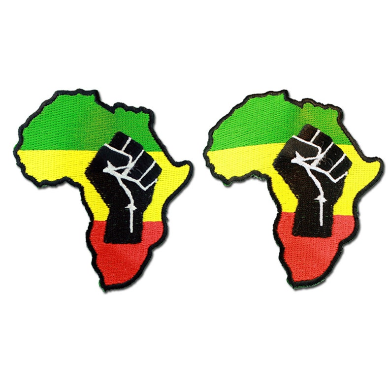 Rasta Green Yellow Red Black Power Fist Symbol in Africa Map Large Embroidered Iron or Sew on Patch-1 or 2 Pieces Deal