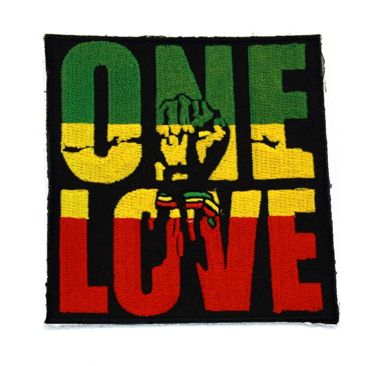 Rasta ONE LOVE with Fist Symbol Embroidered Iron or Sew On Patch  dcb928d72f4d