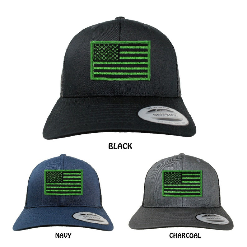 3 Colors Flexfit Green Black American Flag Embroidered Iron On Patch Snapback Mesh Cap