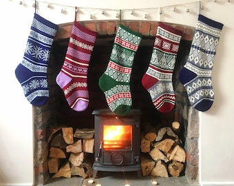Personalised Knitted Christmas Stockings, Fair Isle, Traditional, Large Size