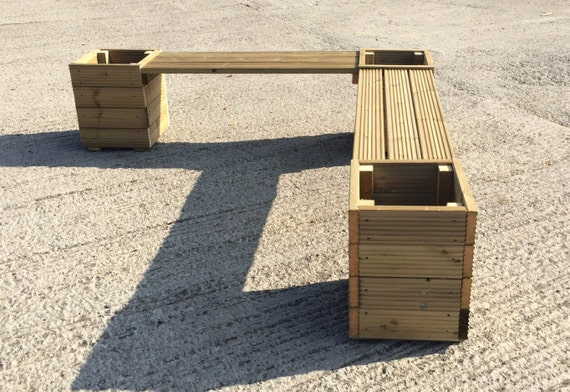 Groovy Wooden Garden Corner Bench With Planters Combination Seat Large Square Decking Benches Theyellowbook Wood Chair Design Ideas Theyellowbookinfo