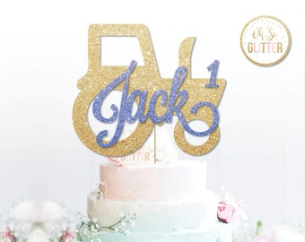 Custom Tractor Topper Gold Cake Glitter Personalised Farm Farmer Any Name Age