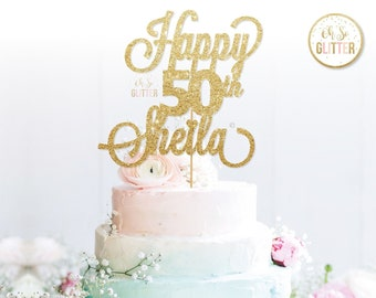 Happy 50th Sheila Birthday Gold Cake Topper Glitter Custom Personalised Forty 30th 40th 60th 70th 80th 90th