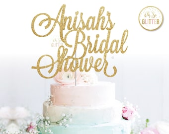 Personalised Custom Cake Toppers Bridal Shower Bride To Be Glitter Rose Gold Silver #36
