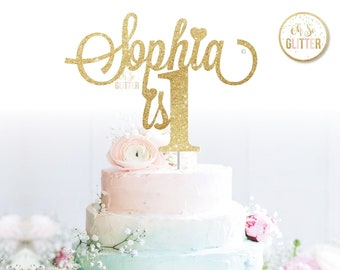 Customised Cake Topper Birthday Gold Glitter Custom Personalised Smash First 1st 1 One Any Name