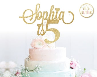 Customised Cake Topper Birthday Gold Glitter Custom Personalised One Two Three Four Five Six 1 2 3 4