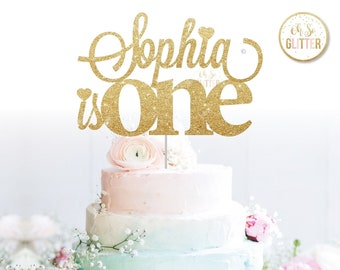 Customised Cake Topper Birthday Gold Glitter Custom Personalised Smash First 1st 1 One Two Three Four Five