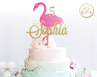 Flamingo Cake Topper Glitter Cupcake Gold Invite Custom