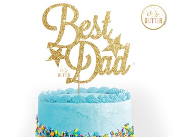 Fathers Day Cake Topper Custom Personalised Topperglitter Toppertopper Customised Best Dad Daddy Super